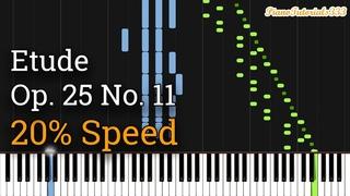 Chopin - Etude Op. 25 No. 11: Winter Wind (Slow Piano Tutorial) [20% Speed]