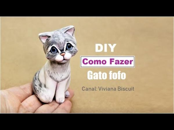 Faça Gato de biscuit Muito Rápido e Fácil - Viviana Biscuit - Modelagem em biscuit