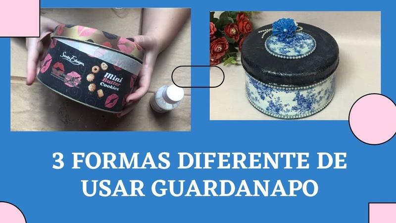 Lata decorada com decoupage de Guardanapo 3 formas diferentes de usar o guardanapo