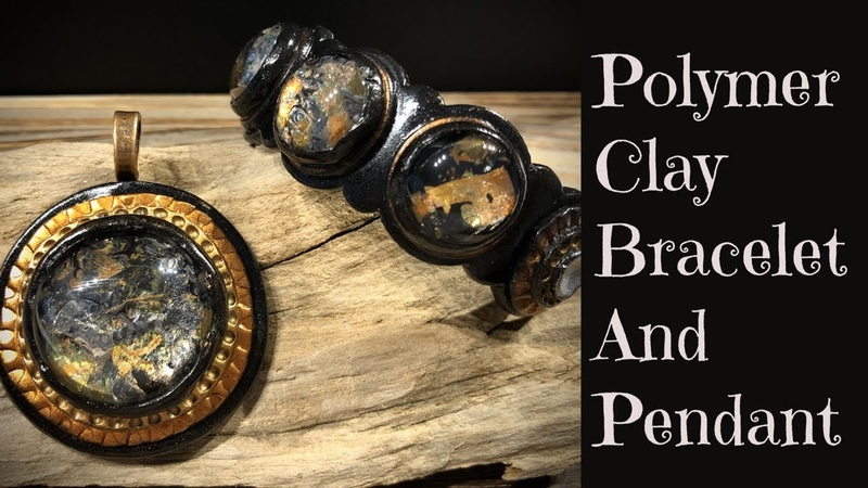 Creating Polymer Clay Cuff Bracelet And Medallion Cabochon Pendant Set Step By Step Jewelry Tutorial