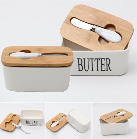 Масленка с практичной деревянной крышкой и ножом -