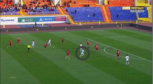Рауш смещается с мячом в центр, Шиманский начинает рывок с позиции атакующего полузащитника за спину центральному защитнику.