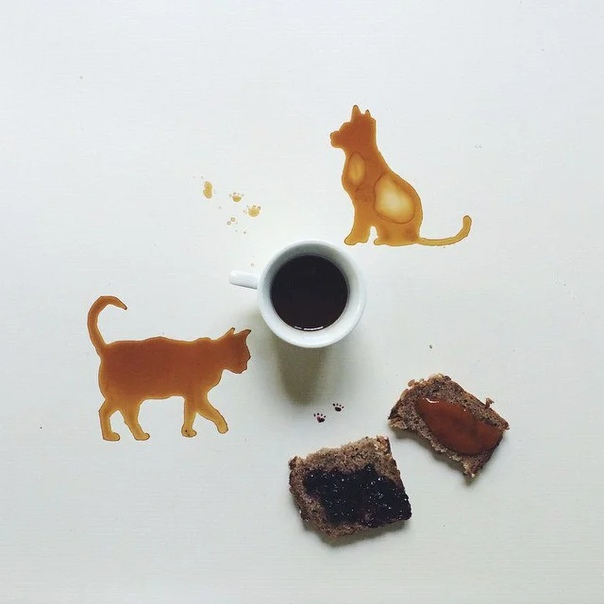 Разлили кофе С кем не бывает! Но пока вы бегали за тряпкой и тазиком, чтобы поскорее убрать беспорядок - итальянка Джулия Бернарделли научилась превращать эту обидную оплошность в необычное