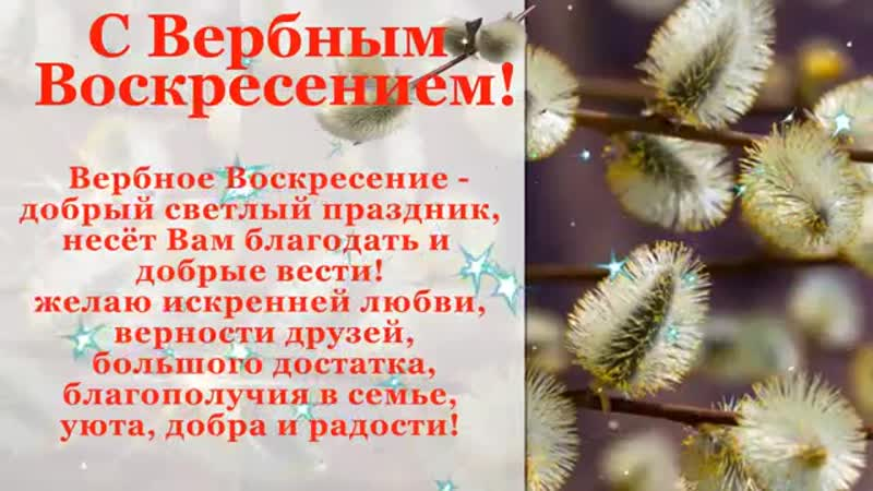 Поздравление с вербным воскресеньем Красивая видео открытка на вербное воскресе