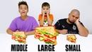 Большая Средняя и Маленькая еда Челлендж от Ярик TRUMP