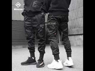 Мужские брюки карго в стиле харадзюку, спортивные брюки карго с множеством карманов, в стиле панк, уличная одежда