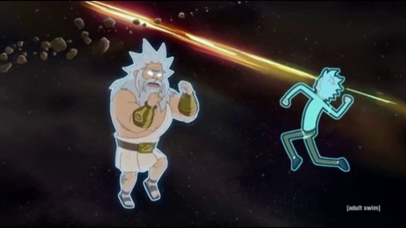 Rick and Morty 4x09(Childrick of Mort): Rick fights god: Zeus. (HD)