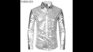 Мужская блестящая рубашка с серебристыми металлическими блестками, костюм для вечеринки на хэллоуин 70 х годов, рубашка для