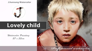 Watercolor portrait painting │ 인물수채화  Lovely child
