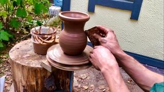 🍯 Самодельный ГОНЧАРНЫЙ КРУГ ИЗ ПНЯ и шуруповёрта Крутим крынку Волшебство керамики