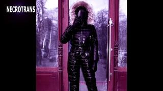 Black ski jumpsuit and black tinted masks. Russian gas masks GP-21 and GP-18