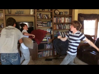 Pillow fight (slow-mo) by mighty men