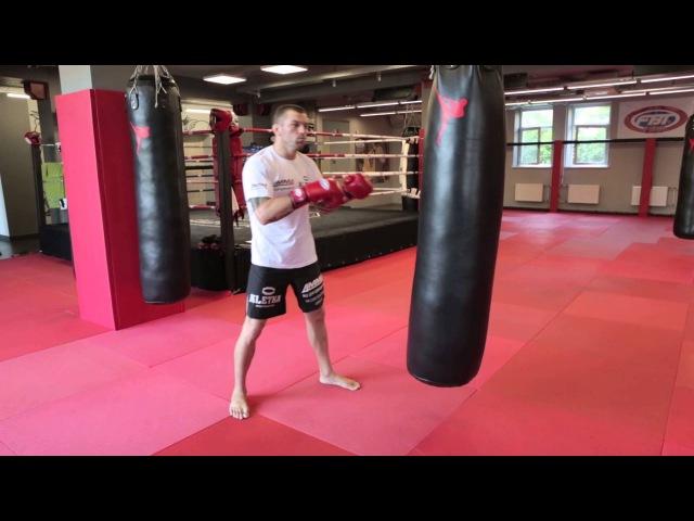 Боковые удары в Боксе с Андреем Басыниным как поставить боковой удар рукой на мешке