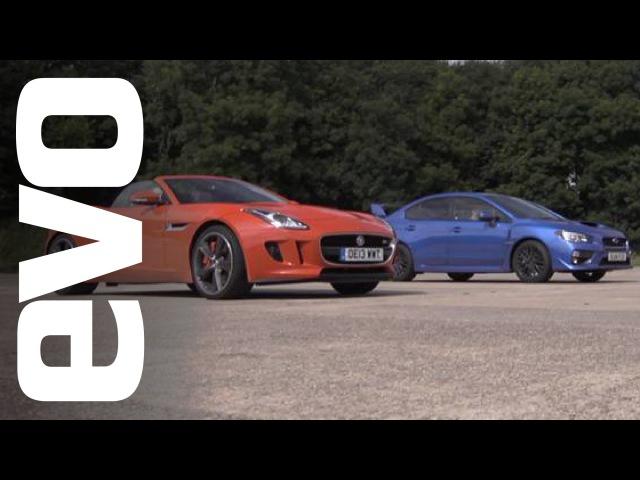 Jaguar F type V6 S vs Subaru WRX STI Драг битва NaZa5aske