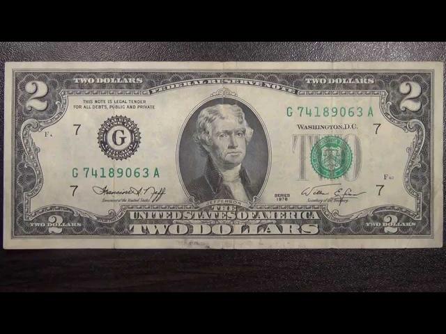 Обзор банкнота ФРС США 2 доллара 1976 год Томас Джефферсон картина Трамбулла Подписание Декларац