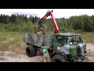 ГАЗ-66-РМ - грузовик с краном-манипулятором и грейфером
