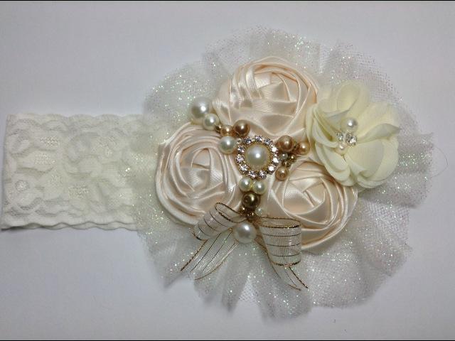 Tiara de bautizo color perla VIDEO No. 283