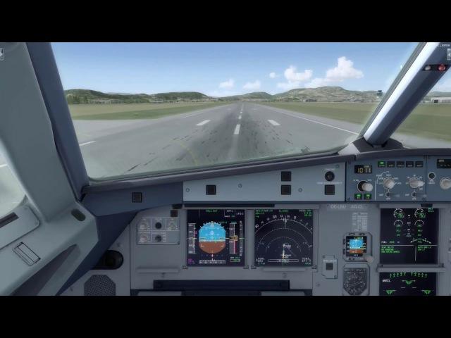 Prepar3D v3 2 Aerosoft A320 manual Landing at Graz LOWG with 13kts Crosswind