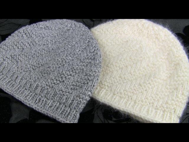 МАЛЕНЬКАЯ шапка узором СПИРАЛЬ 2 МК Вяжем шапочку спицами без шва Вязаные шапочки спицами