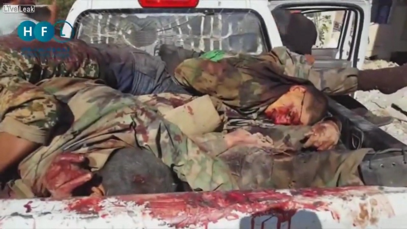 LiveLeakcom Truckload of Beheaded Syrian Soldiers Transported By White Helmet Associated Terrorists