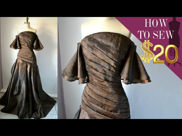 How To Sew A Off The Shoulder Pleated Gown For $20 Part 2 EP 02