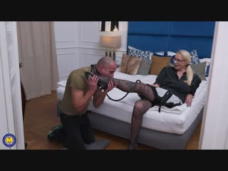 Kinky mature lady doing her submissive toyboy with a strapon