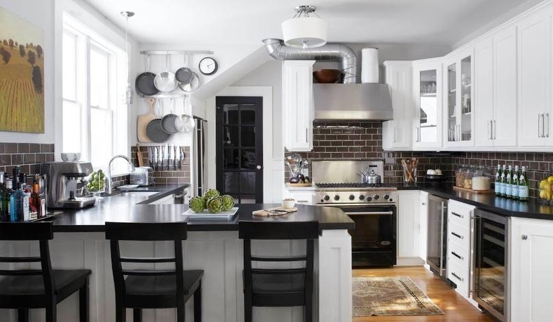 Черно-белая кухня – особенности контрастного дизайна., изображение №10