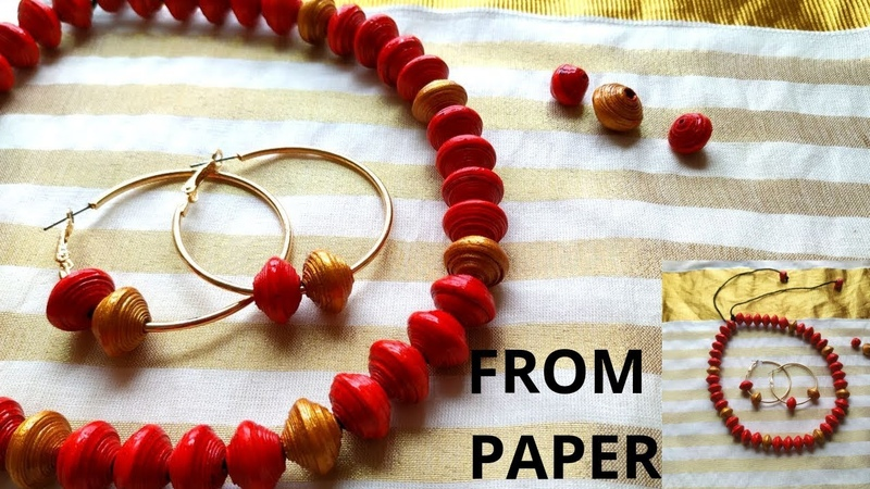 Newspaper Craft || paper bead necklace and earring || Best out of waste || Iris Craft Corner 51