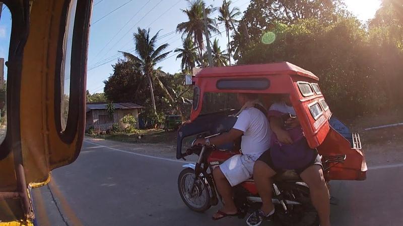 Филиппинское эконом такси Едем на трицикле Деревенские улицы Панглао