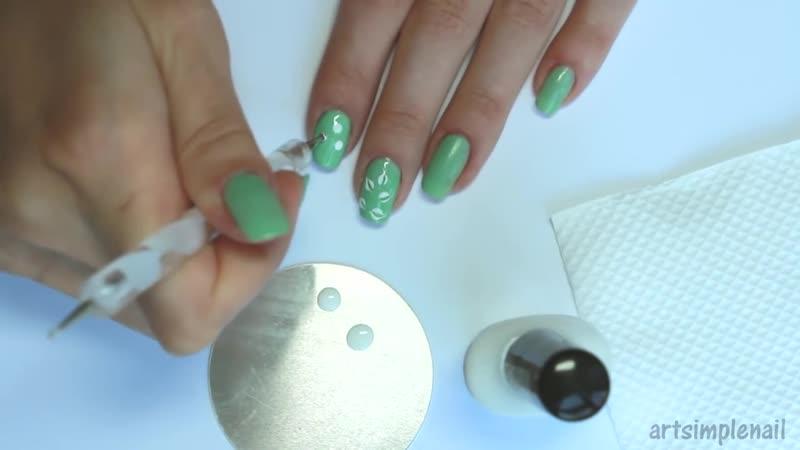 Бирюзовый маникюр с помощью иголки Ветка - Turquoise Needle Nails