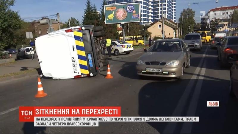 Проїхали на червоний сигнал світлофора львівські поліціянти влаштували автотрощу