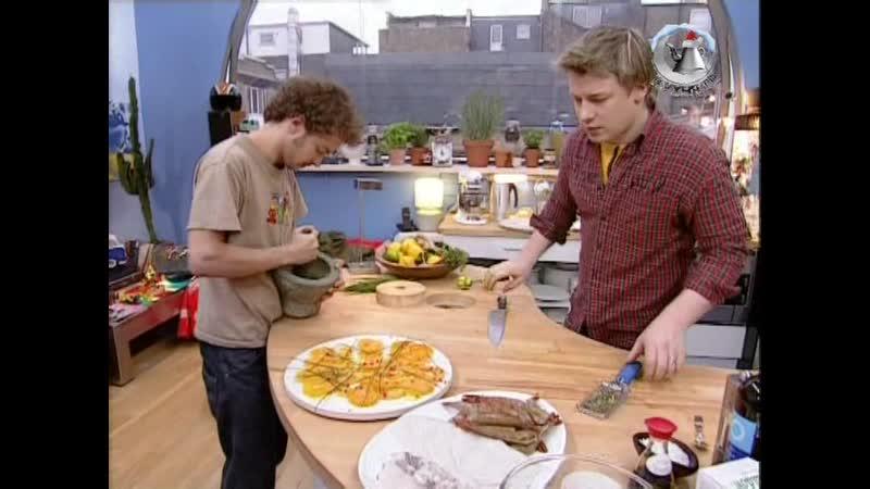 Жить вкусно с Джейми Оливером. 31 серия: По-Английски (A Very British) - (шашлык по английски, тунец, кальмары, креветки)