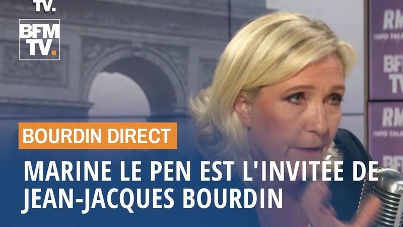 Marine Le Pen face à Jean-Jacques Bourdin en direct
