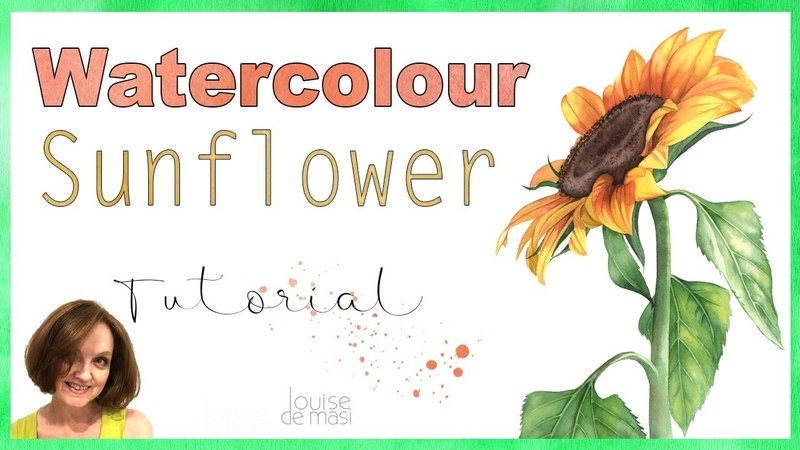 How to paint a Sunflower in Watercolor Watercolour Sunflower 🌻