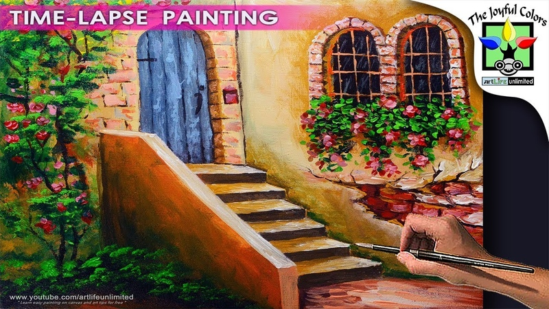 LEARN TO PAINT Flowering Old Wall with Antique Door and Windows | ACRYLIC ART PAINTING TUTORIAL