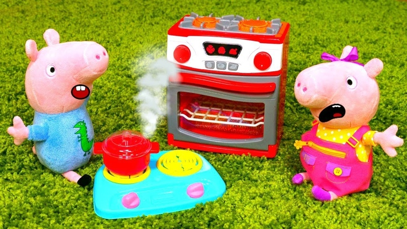 Свинки Пеппа и Джордж на кухне Видео на английском языке