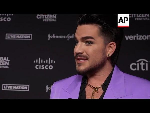 Adam Lambert on the red carpet at G l o b a l C itizen f estival, September 27