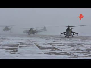 Ударные вертолеты сбросили бомбы над заснеженной Сибирью