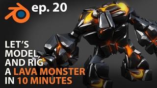 Let's MODEL and RIG a LAVA MONSTER in 10 MINUTES - ep 20 - Blender