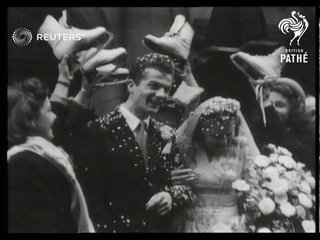 London wedding of two ice skating performers, Daphne Walker and Bill Keefe (1948)