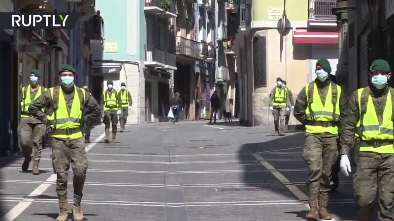 Citizens protest against military presence in Spain's Pamplona