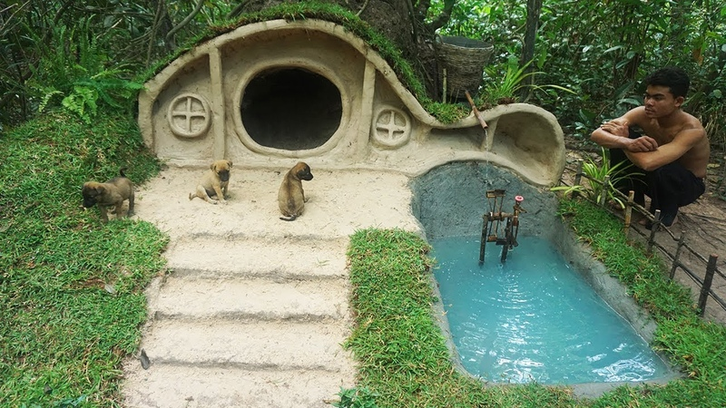 Rescued Little abandoned Puppy Then Digging Termite mound Build Hobbit House for Puppies
