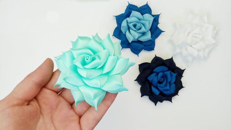 Ribbon rose flower 🌹 Красивая роза канзаши из репсовой ленты 2.5 см