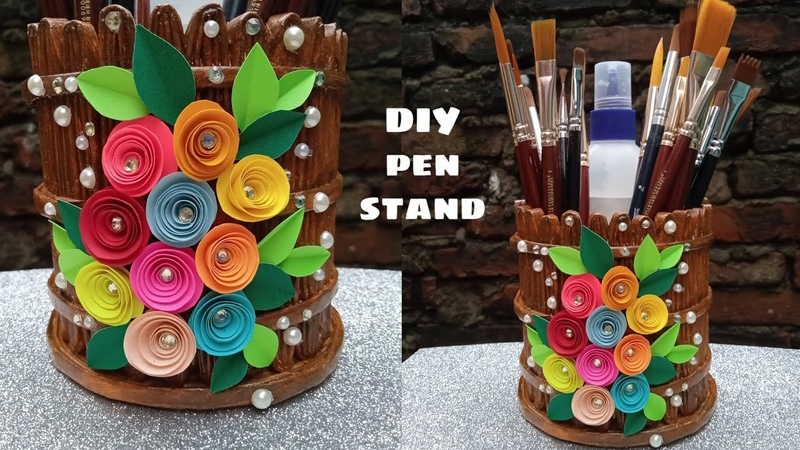 How to make pen stand out of old newspaper. DIY pen stand from waste. Newspaper craft ideas. reuse