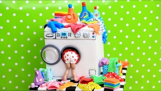 Laundry Time Cake with Miniature Clothes by Cakes StepbyStep