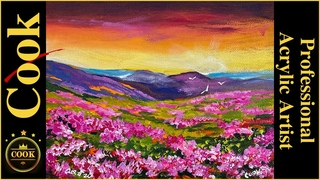Pink Field of Flowers Quarantine Quickie #20 Acrylic Painting with Ginger Cook