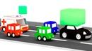 O carro preto está roubando um bloco 4 carros coloridos Desenhos animados para crianças