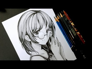 How to DRAW Anime Girl in Glasses [Anime Drawing Tutorial for Beginners]
