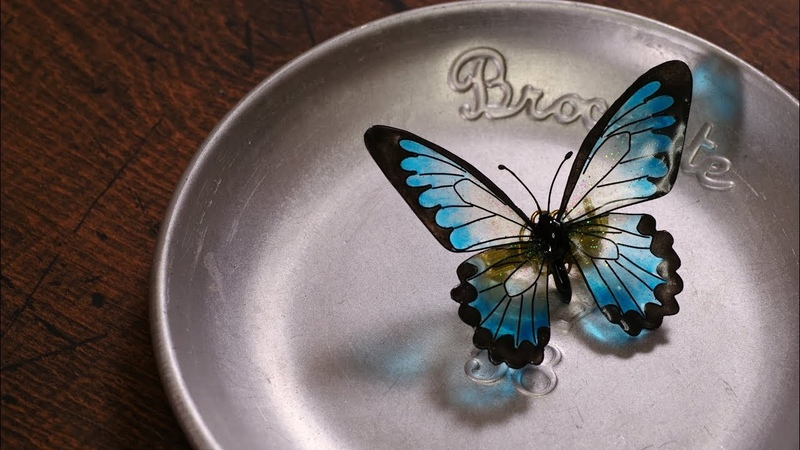 【レジン】ワイヤーで蝶々のブローチ DIY making wire art accessory [Butterfly brooch]