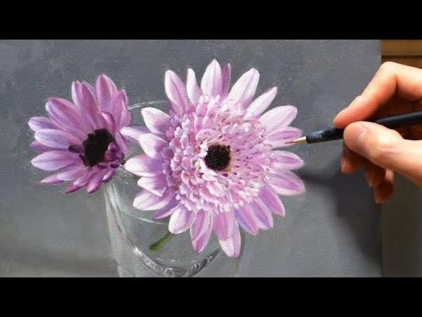 油彩画 タイムラプスで見る制作過程|菊の花を描く|Oil Painting Timelapse|How I Paint Chrysa